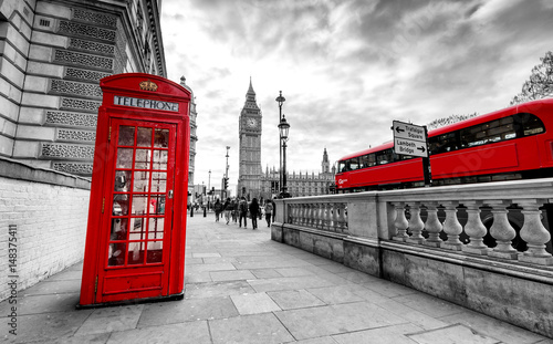 Türaufkleber London roten bus London Red Telephone Booth and Big Ben Clock Tower