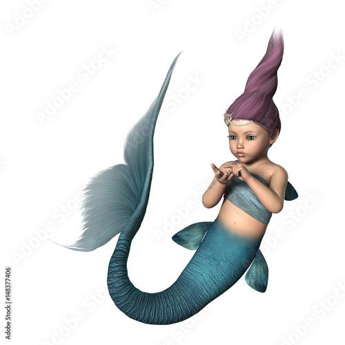 Foto op Plexiglas Zeemeermin 3D Rendering Little Mermaid on White