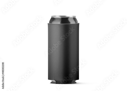 Blank black collapsible beer can koozie mockup isolated, for 500 ml ...
