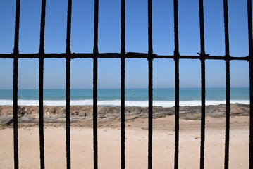 View of the sea from the prison of the medieval bastion Borj Adoumoue in Salé