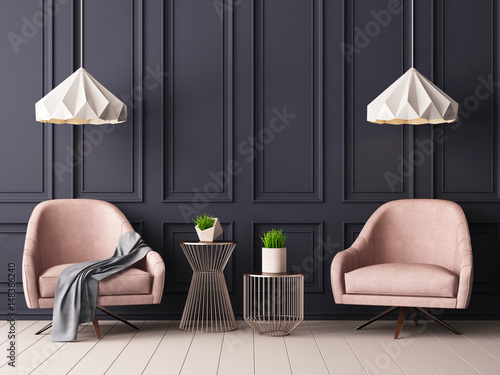 Valokuva  Mock up poster in a classic pastel interior with armchairs, against the background of a dark blue wall