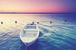 Fischerboot am See, romantische Morgenstimmung