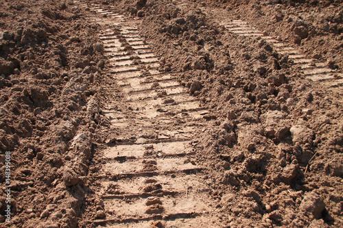 Valokuva  tractor track on sandy soil