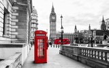 Fototapeta London - London Telephone Booth and Big Ben