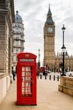 Fototapeta Londyn - London Telephone Booth and Big Ben
