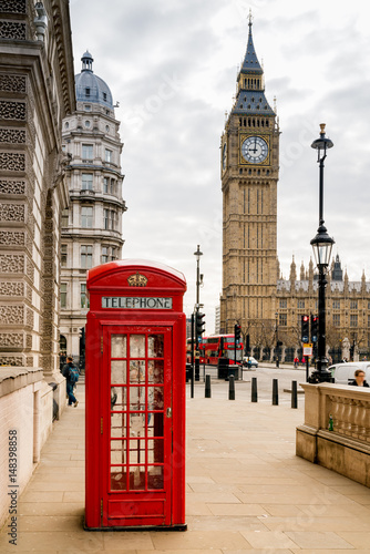 Fotobehang London London Telephone Booth and Big Ben
