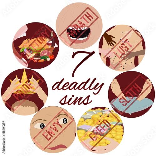 Fotografia Seven Deadly Sins. Vector illustration.