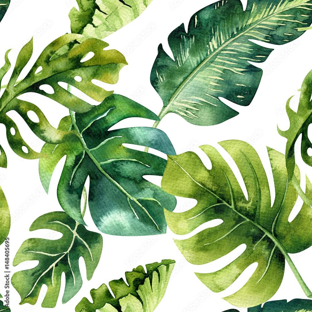 Fototapeta Seamless watercolor pattern of tropical leaves, dense jungle. Ha