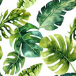 canvas print picture - Seamless watercolor pattern of tropical leaves, dense jungle. Ha
