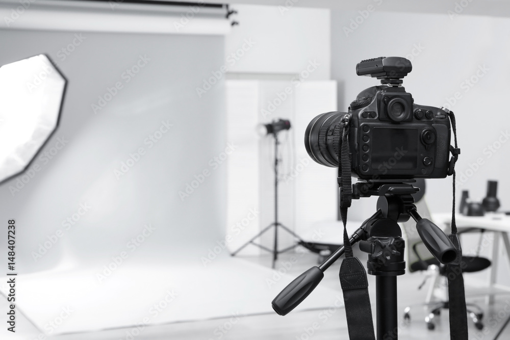 Fototapeta Modern photo studio with professional equipment - obraz na płótnie