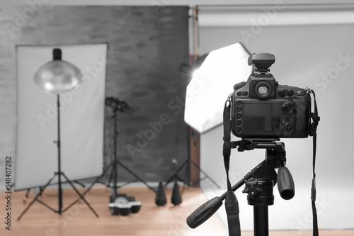 Fototapeta Modern photo studio with professional equipment obraz na płótnie
