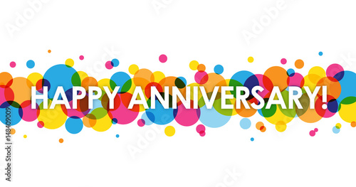 "Photo ""HAPPY ANNIVERSARY"" Vector Card with Colourful Circles Background"