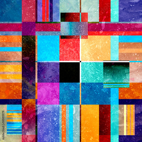 Fototapety, obrazy: Abstract watercolor geometric background