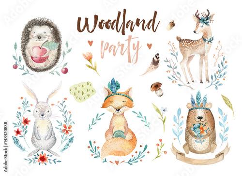 Śliczny dziecko lis, jeleni zwierzęcy pepiniera królik i niedźwiedź odizolowywał ilustrację dla dzieci ,. Akwarela boho forestdrawing, akwarela, obraz jeż Idealny do plakatów dziecinnych