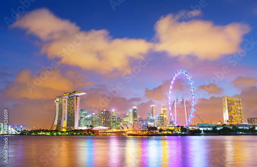 Photo  Skyline of Singapore at twilight