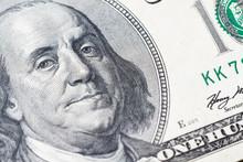 Macro Close Up Of Ben Franklin...