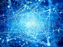 Blue Glowing Encrypted Connections In Space With Particles And Digital Fingerprint