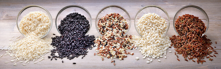 Panel Szklany Five types of rice: basmati, black rice, mix long grain, arborio and red rice