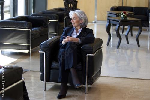France's Finance Minister Christine Lagarde speaks during an