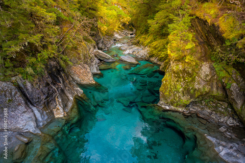 Fotografia  Blue River at Blue Pools track in the South Island of New Zealand