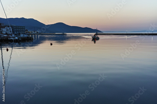 Foto op Canvas Purper Sunset view on embankmen in Thassos town, East Macedonia and Thrace, Greece