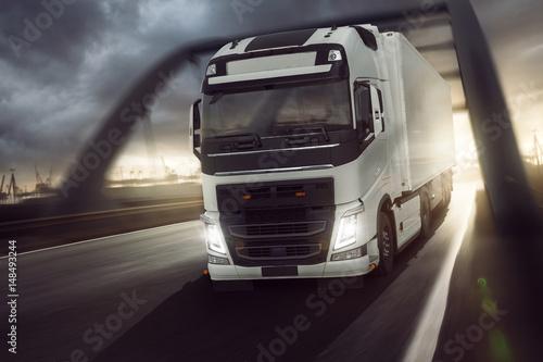Fototapeta Truck Logistic Transport - Port
