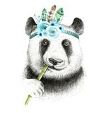 Watercolor panda illustration. Bohemian cute animal. Boho style. Nursary art print. Feathers collection - 148511282