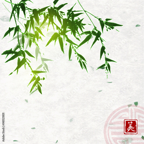 green-bamboo-on-handmade-rice-paper-background-traditional-oriental-ink-painting-sumi-e-u-sin-go-hua-contains-hieroglyph-beauty-and-sign-of-great-blessing