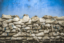 Old Sandbag Wall For Flooding Defense Or Fortification,