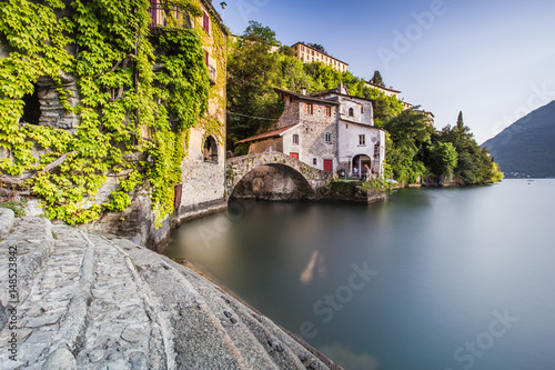 Old villas and houses in Nesso village at lake Como, Italy Canvas Print