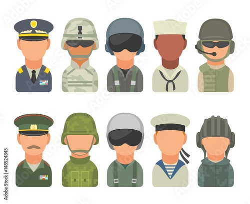 Fotografija Set icon character military people