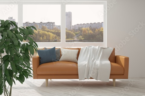 White Room With Sofa And Urban Landscape In Window Scandinavian
