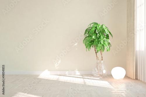 Aluminium Prints Bonsai White empty room. Scandinavian interior design. 3D illustration