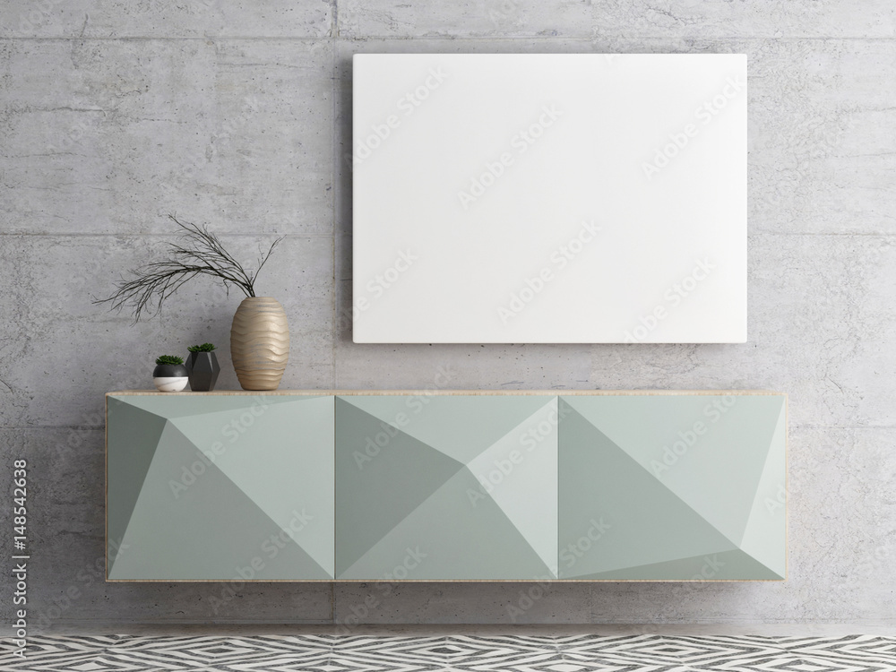 Fototapety, obrazy: Close up  poster on chest drawers, 3d illustration