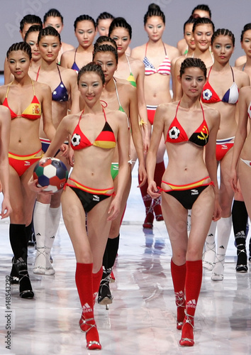 Chinese models present creations for HOSA China Lingerie