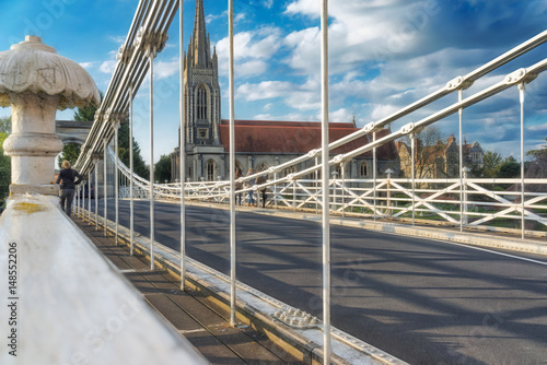 Fotografie, Tablou Marlow suspension bridge, built by William Tierney Clark in the mid-19th century was seen as a prototype for the much larger Budapest Chain Bridge, also built by Tierney-Clark