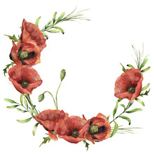 Watercolor Wreath With Poppies And Greenery. Hand Painted Floral Illustration With Flowers, Leaves And Branch Of Grass Isolated On White Background. For Design Or Print.