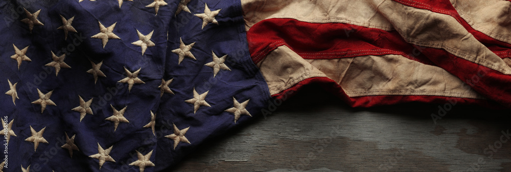 Fototapety, obrazy: Vintage red, white, and blue American flag for Memorial day or Veteran's day background
