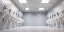 Design Of White Ceramic Urinals For Men In Toilet Room