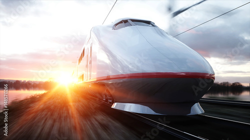Electric passenger train Fotobehang