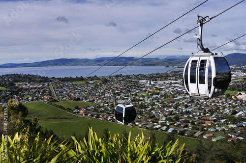 Riding cable car above Rotorua North Island New Zealand