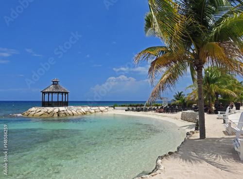 Beautiful and relaxing ocean view of gazebo in Montego Bay Jamaica