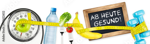 Fotografie, Obraz  Ab heute gesund fitness diät ernährung motivation konzept panorama hintergrund i