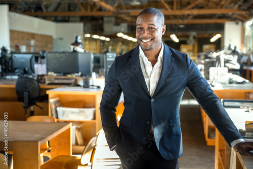 Fényképezés  African american entrepreneur business owner ceo portrait at the creative design