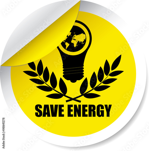 Fotografie, Obraz  Save energy yellow Label, Sticker, Tag, Sign And Icon Banner Business Concept, Design Modern