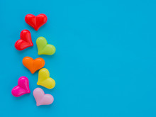 Colorful Heart On Blue Backgro...