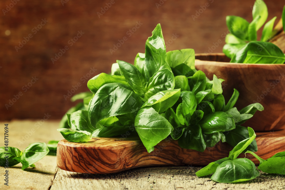 Fototapety, obrazy: Fresh green basil in olive mortar with pestle, vintage wooden background, rustic style, selective focus