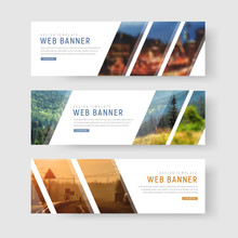 Template Of White Web Banners With Diagonal Elements For A Photo.