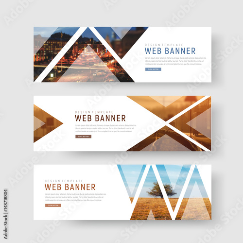 set of horizontal white banners with triangular shapes for a photo.