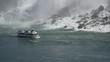 Sightseeing Boat Sailing Past American Falls At Niagara Falls In Ontario, Canada (Medium / Locked-Off)